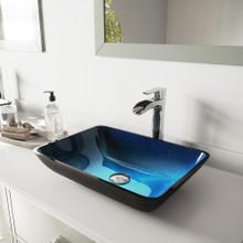 VIGO VGT1073 Rectangular Turquoise Water Glass Vessel Bathroom Sink Set With Niko Vessel Faucet In Chrome
