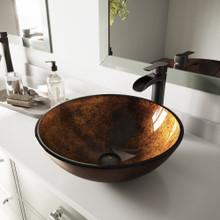 VIGO VGT1077 Russet Glass Vessel Bathroom Sink Set With Niko Vessel Faucet In Antique Rubbed Bronze