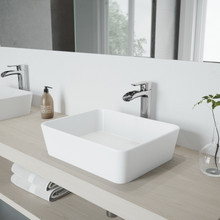 VIGO VGT1086BN Hibiscus Matte Stone Vessel Bathroom Sink Set With Niko Vessel Faucet In Brushed Nickel