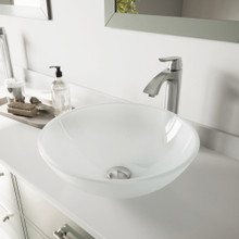 VIGO VGT1091 White Frost Glass Vessel Bathroom Sink Set With Linus Vessel Faucet In Brushed Nickel