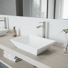 VIGO VGT1212 Vinca Matte Stone Vessel Bathroom Sink Set With Milo Vessel Faucet In Brushed Nickel