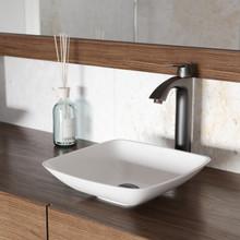 VIGO VGT1221 Hyacinth Matte Stone Vessel Bathroom Sink Set With Linus Vessel Faucet In Antique Rubbed Bronze