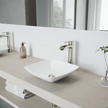 VIGO VGT1223 Hyacinth Matte Stone Vessel Bathroom Sink Set With Niko Vessel Faucet In Brushed Nickel