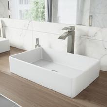 VIGO VGT1230 Magnolia Matte Stone Vessel Bathroom Sink Set With Duris Vessel Faucet In Brushed Nickel