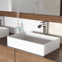 VIGO VGT1232 Magnolia Matte Stone Vessel Bathroom Sink Set With Niko Vessel Faucet In Chrome