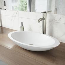 VIGO VGT1240 Wisteria Matte Stone Vessel Bathroom Sink Set With Seville Vessel Faucet In Brushed Nickel