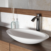 VIGO VGT1241 Wisteria Matte Stone Vessel Bathroom Sink Set With Linus Vessel Faucet In Antique Rubbed Bronze