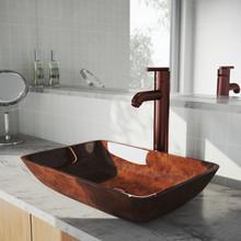 "VIGO VGT1552 18"" Rectangular Russet Glass Vessel Bathroom Sink Set With Seville Vessel Faucet In Oil Rubbed Bronze"