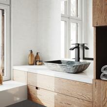 VIGO VGT1603 Rectangular Titanium Glass Vessel Bathroom Sink Set With Duris Vessel Faucet In Matte Black