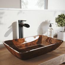 "VIGO VGT1652 18"" Rectangular Russet Glass Vessel Bathroom Sink Set With Niko Vessel Faucet In Antique Rubbed Bronze"