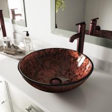 VIGO VGT170 Mahogany Moon Glass Vessel Bathroom Sink Set With Seville Vessel Faucet In Oil Rubbed Bronze