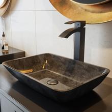 VIGO VGT1701 Rectangular Gray Onyx Glass Vessel Bathroom Sink Set With Duris Vessel Faucet In Matte Black