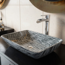 VIGO VGT1702 Rectangular Titanium Glass Vessel Bathroom Sink Set With Niko Vessel Faucet In Chrome