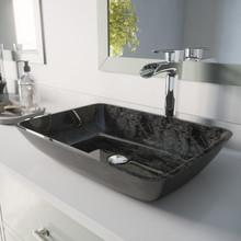 VIGO VGT1852 Rectangular Gray Onyx Glass Vessel Bathroom Sink Set With Niko Vessel Faucet In Chrome