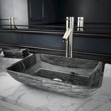 VIGO VGT1902 Rectangular Titanium Glass Vessel Bathroom Sink Set With Dior Vessel Faucet In Brushed Nickel