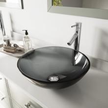 VIGO VGT252 Sheer Black Glass Vessel Bathroom Sink Set With Duris Vessel Faucet In Chrome