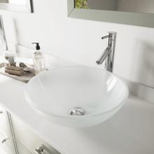 VIGO VGT263 White Frost Glass Vessel Bathroom Sink Set With Dior Vessel Faucet In Chrome