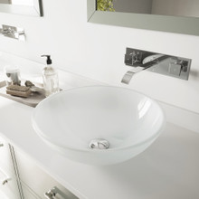 VIGO VGT274 White Frost Glass Vessel Bathroom Sink Set With Titus Wall Mount Faucet In Chrome