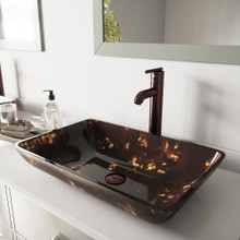 VIGO VGT276 Rectangular Brown And Gold Fusion Glass Vessel Bathroom Sink Set With Seville Vessel Faucet In Oil Rubbed Bronze