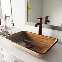 "VIGO VGT292 22"" Rectangular Amber Sunset Glass Vessel Bathroom Sink Set With Seville Vessel Faucet In Oil Rubbed Bronze"