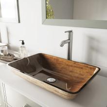 """VIGO VGT312 22"""" Rectangular Amber Sunset Glass Vessel Bathroom Sink Set With Seville Vessel Faucet In Brushed Nickel"""