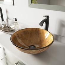 VIGO VGT391 Amber Sunset Glass Vessel Bathroom Sink Set With Linus Vessel Faucet In Antique Rubbed Bronze