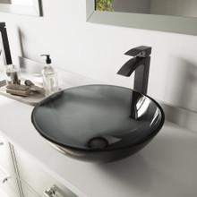 VIGO VGT459 Sheer Black Glass Vessel Bathroom Sink Set With Duris Vessel Faucet In Matte Black