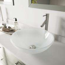 VIGO VGT466 White Frost Glass Vessel Bathroom Sink Set With Dior Vessel Faucet In Brushed Nickel