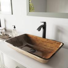"VIGO VGT486 22"" Rectangular Amber Sunset Glass Vessel Bathroom Sink Set With Linus Vessel Faucet In Antique Rubbed Bronze"