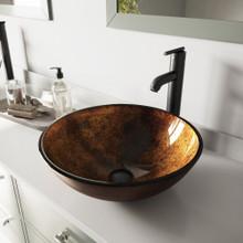 VIGO VGT503 Russet Glass Vessel Bathroom Sink Set With Seville Vessel Faucet In Matte Black