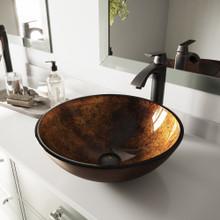 VIGO VGT504 Russet Glass Vessel Bathroom Sink Set With Linus Vessel Faucet In Antique Rubbed Bronze