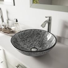 VIGO VGT559 Titanium Glass Vessel Bathroom Sink Set With Linus Vessel Faucet In Brushed Nickel