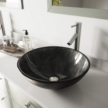 VIGO VGT570 Gray Onyx Glass Vessel Bathroom Sink Set With Dior Vessel Faucet In Brushed Nickel