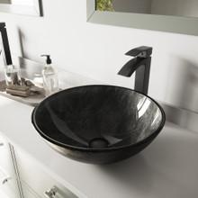 VIGO VGT572 Gray Onyx Glass Vessel Bathroom Sink Set With Duris Vessel Faucet In Matte Black