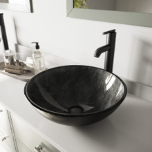 VIGO VGT574 Gray Onyx Glass Vessel Bathroom Sink Set With Seville Vessel Faucet In Matte Black