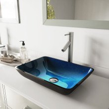 VIGO VGT794 Rectangular Turquoise Water Glass Vessel Bathroom Sink Set With Dior Vessel Faucet In Brushed Nickel