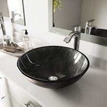 VIGO VGT830 Gray Onyx Glass Vessel Bathroom Sink Set With Linus Vessel Faucet In Chrome