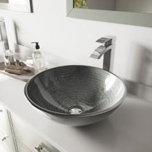 VIGO VGT836 Simply Silver Glass Vessel Bathroom Sink Set With Duris Vessel Faucet In Chrome