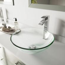 VIGO VGT891 Crystalline Glass Vessel Bathroom Sink Set With Duris Vessel Faucet In Matte Black