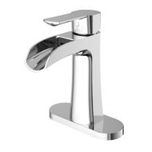VIGO VG01041CHK1 Paloma Single Hole Bathroom Faucet With Deck Plate In Chrome