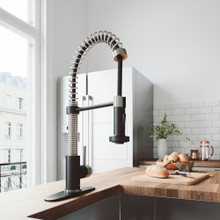 VIGO VG02001STMBK1 Edison Pull-Down Spray Kitchen Faucet With Deck Plate In Stainless Steel/Matte Black