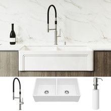 """VIGO VG15808 All-In-One 36"""" Casement Front Matte Stone Double Bowl Farmhouse Apron Kitchen Sink Set With Norwood Faucet In Stainless Steel, Two Strainers And Soap Dispenser"""
