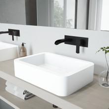 VIGO VGT970 Petunia Matte Stone Vessel Bathroom Sink Set With Cornelius Wall Mount Bathroom Faucet In Matte Black