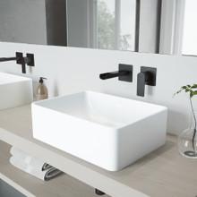 VIGO VGT983 Amaryllis Matte Stone Vessel Bathroom Sink Set With Atticus Wall Mount Faucet In Matte Black