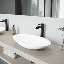 VIGO VGT987 Wisteria Matte Stone Vessel Bathroom Sink Set With Niko Vessel Faucet In Matte Black