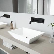 VIGO VGT997 Vinca Matte Stone Vessel Bathroom Sink Set With Titus Wall Mount Faucet In Matte Black
