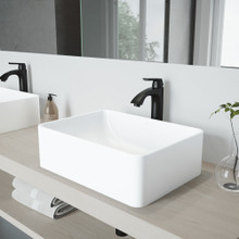 VIGO VGT1148 Hibiscus Matte Stone Vessel Bathroom Sink Set With Linus Vessel Faucet In Matte Black