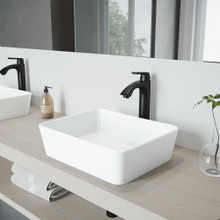 VIGO VGT1150 Marigold Matte Stone Vessel Bathroom Sink Set With Linus Vessel Faucet In Matte Black