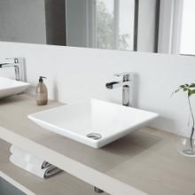 VIGO VGT937 Hibiscus Matte Stone Vessel Bathroom Sink Set With Amada Faucet In Chrome