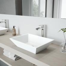 VIGO VGT941 Vinca Matte Stone Vessel Bathroom Sink Set With Amada Faucet In Brushed Nickel